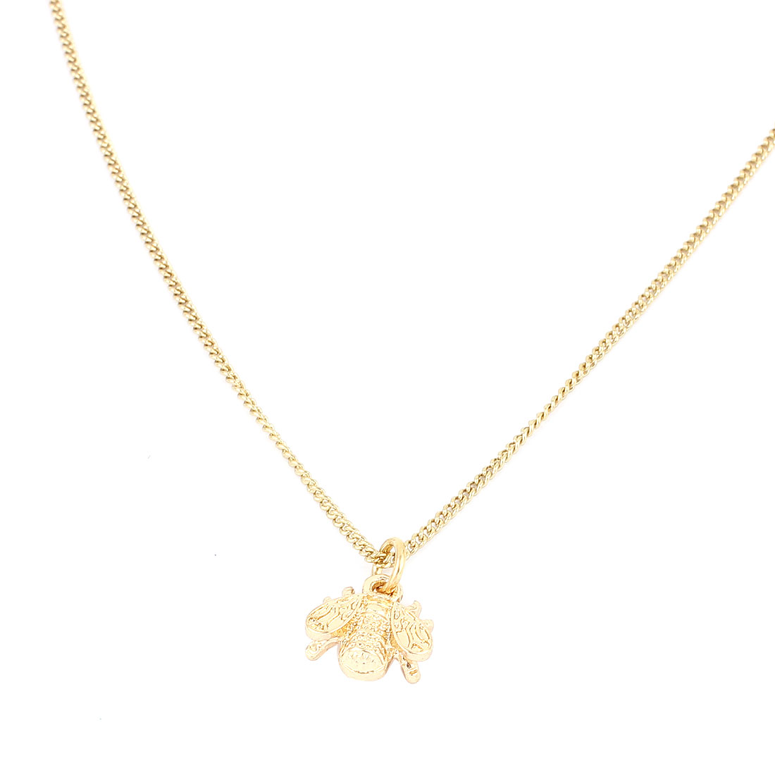 Gold Tone Metal Insect Pendant Lobster Buckle Strip Link Slim Chain Necklace Neckwear Collar for Ladies