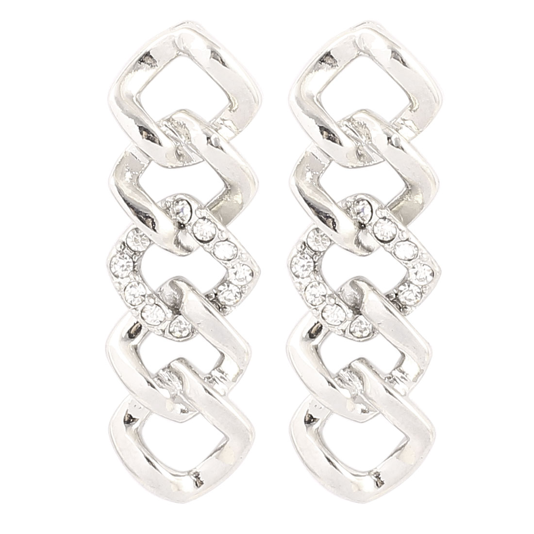 Woman Plastic Crystals Decor Rhombus Shape Metal Pierced Stud Pin Ear Nail Earrings Earbobs Silver Tone 4cm Length Pair