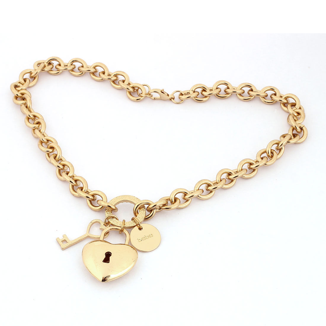 Gold Tone Metal Lock Key Shape Design Pendant Lobster Buckle Chain Necklace Neckwear Collar for Lady Women