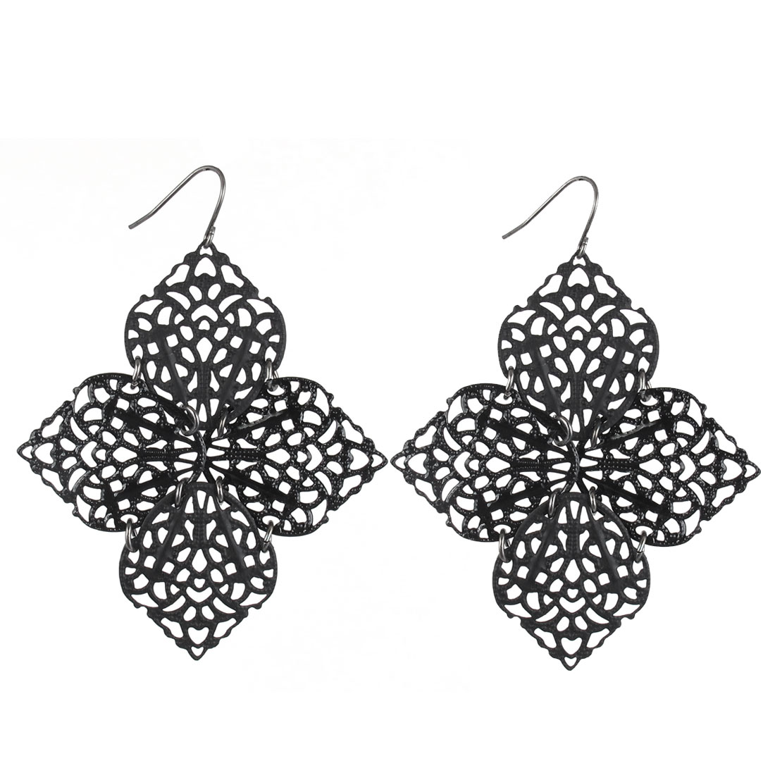 "2.8"" Length Black Metal Four Leaves Shape Folded Net Structure Dangling Pendant Hook Earrings Earbobs Pair for Lady Women"
