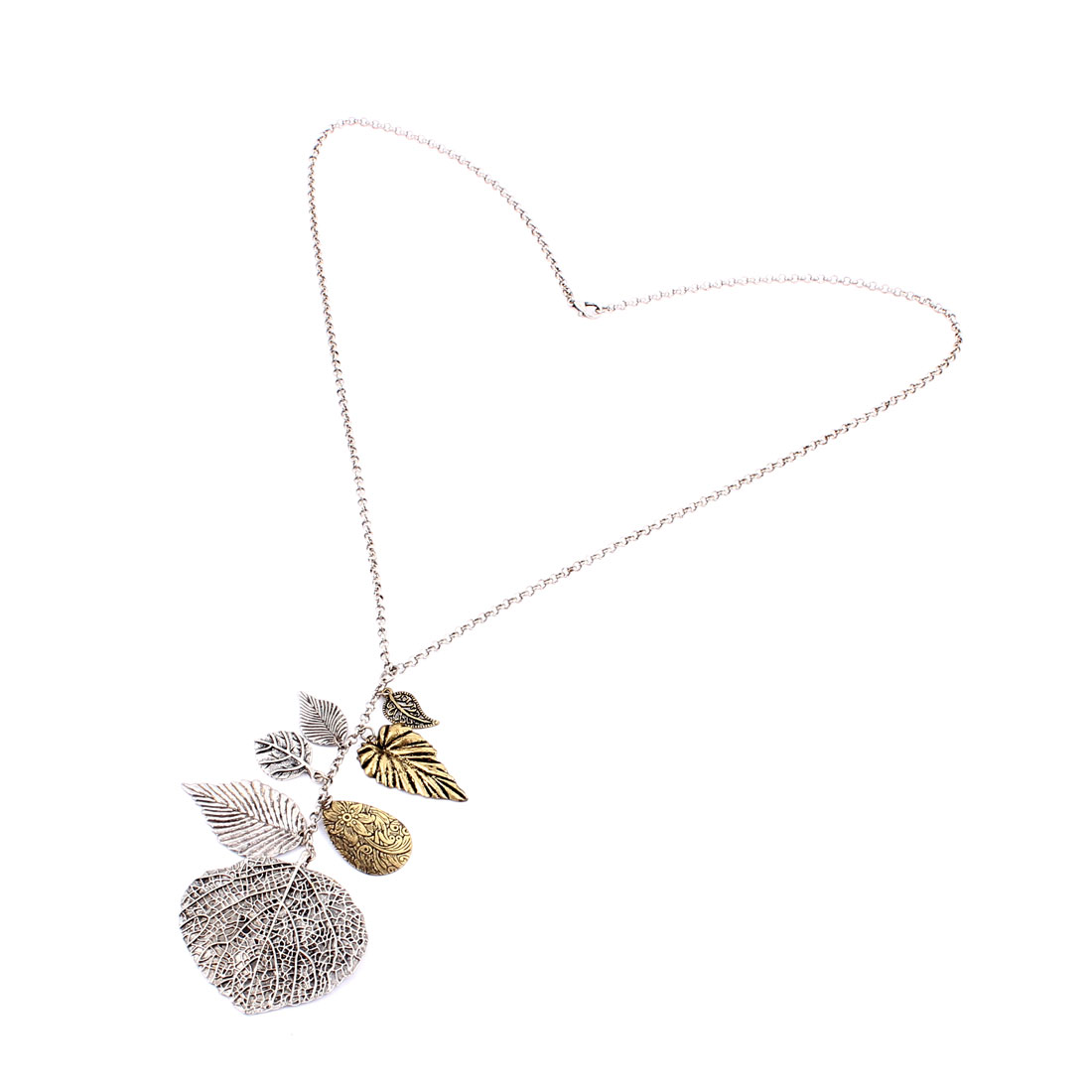 Silver Tone Metal Leaves Design Pendant Lobster Buckle Strip Link Chain Necklace Neckwear Collar for Ladies Women