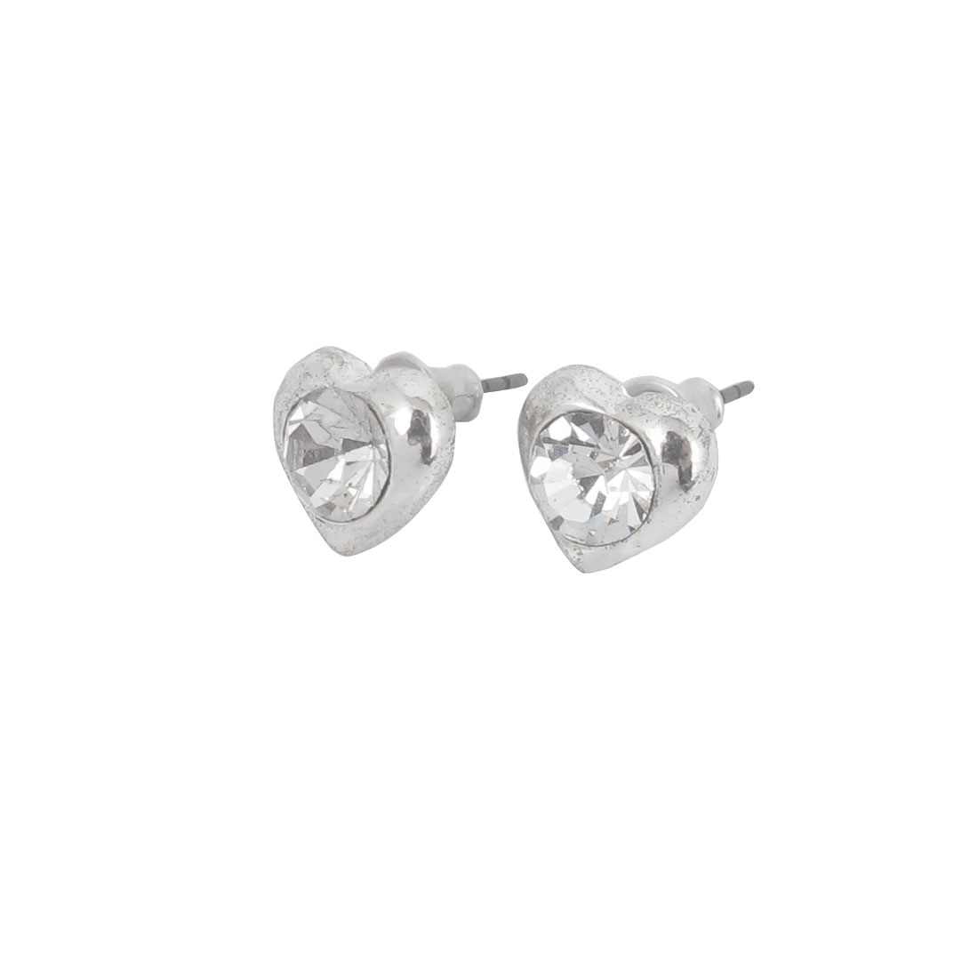 1.7CM Length Silver Tone Faux Crystal Inlaided Heart Shape Pierced Metal Stud Pin Ear Nail Earrings Earbobs Pair for Lady Women