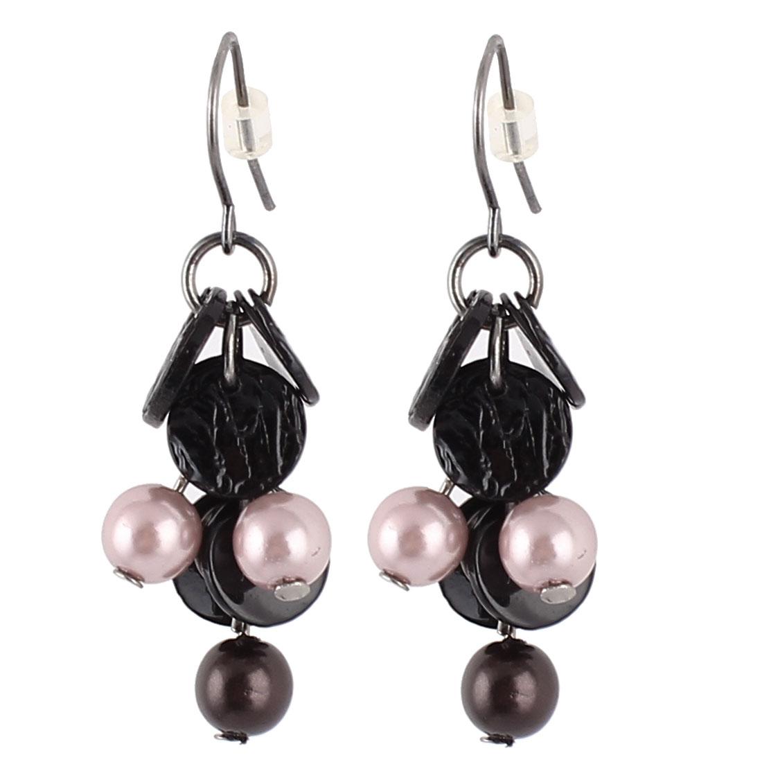 "1.6"" Length Black Purple Plastic Grape Vine Shape Beads Detail Pendant Dangle Metal Fish Hook Earrings Earbob Pair for Lady Women"