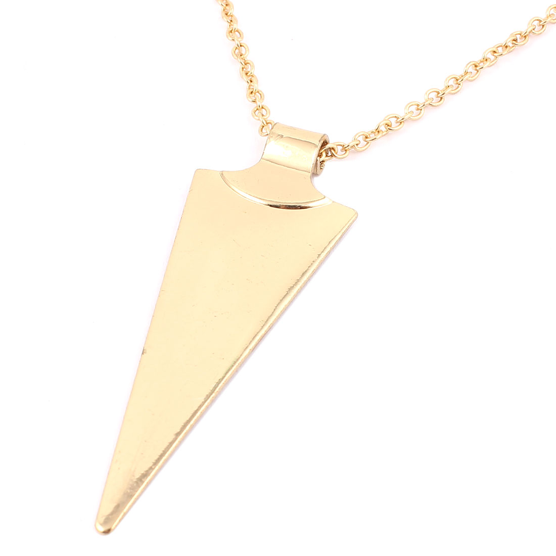 Ladies Women Metal Triangle Detail Pendant Lobster Buckle Strip Link Slim Chain Necklace Neckwear Collar Gold Tone