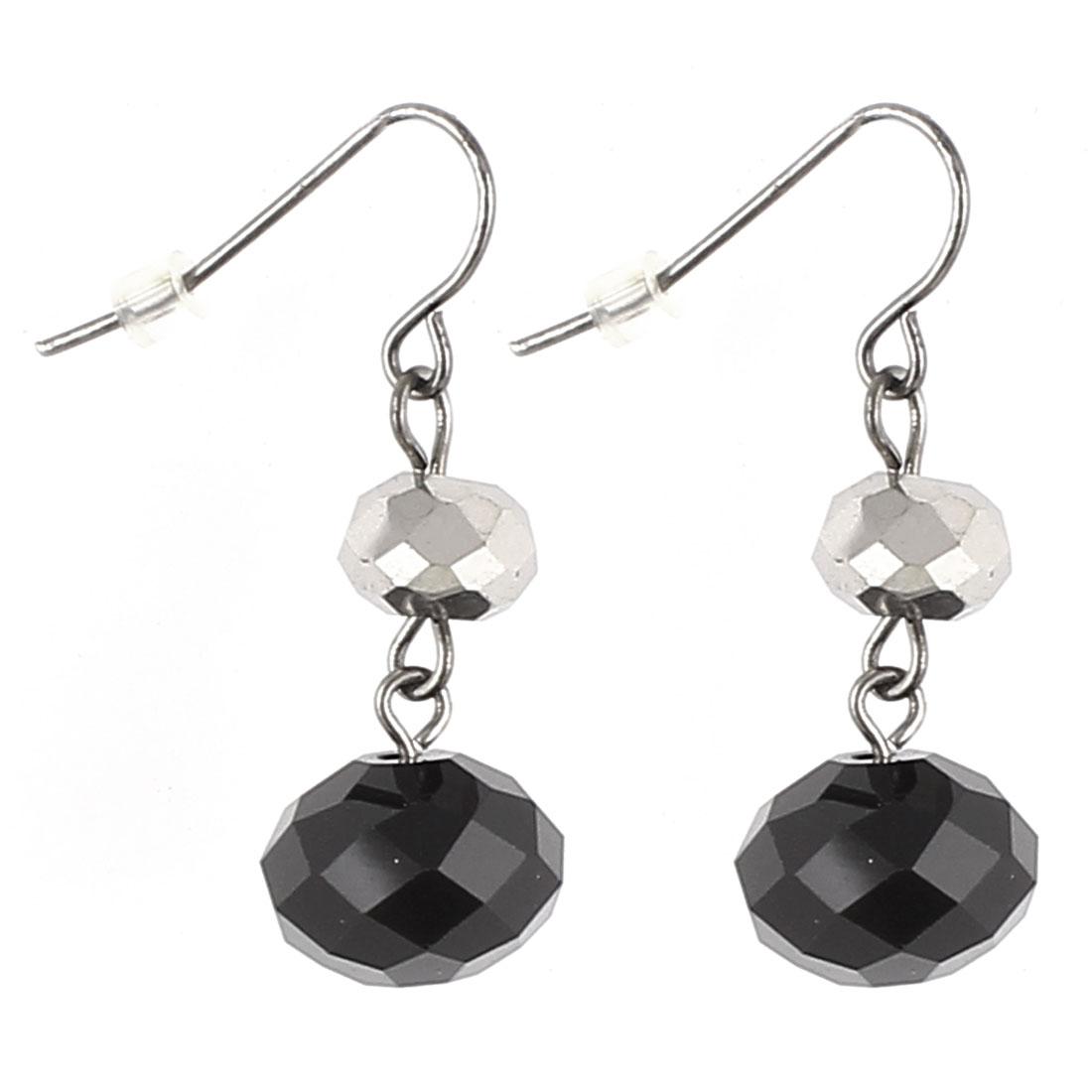 "1.2"" Length Black Plastic Lightweight Beads Pendant Metal Fish Hook Earrings Earbob Eardrop Pair for Lady Women"