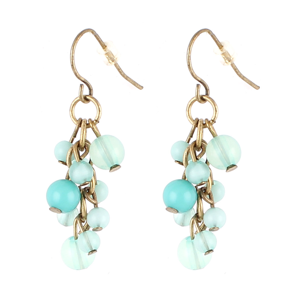 "Lady Women Lightweight Plastic Beads Design Pendant Metal Fish Hook Earrings Earbob Eardrop Aquamarine Copper Tone 1.4"" Length Pair"