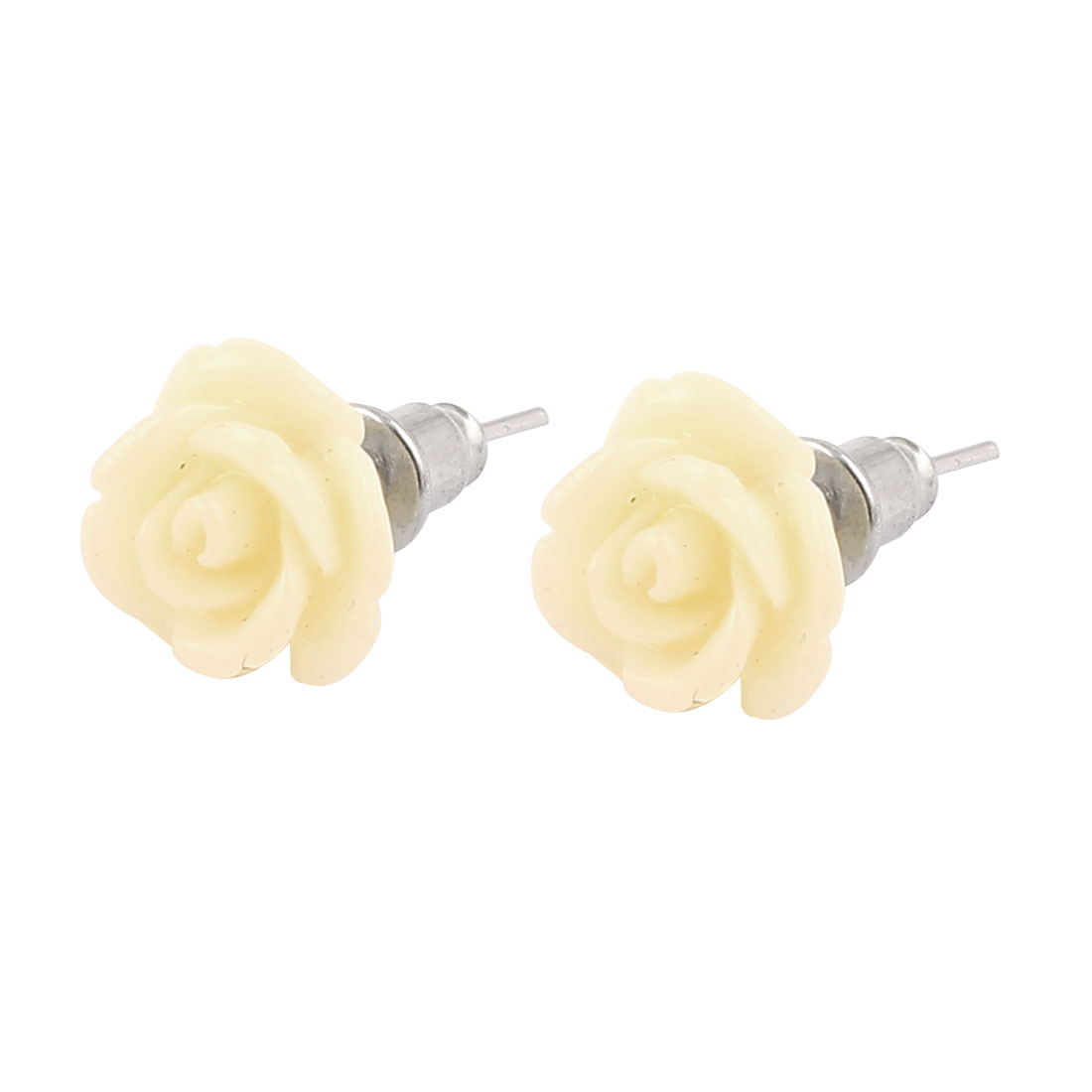 2cm Length Silver Tone Light Yellow Plastic Flower Shape Pierced Metal Stud Pin Ear Nail Earrings Earbobs Pair for Lady Women