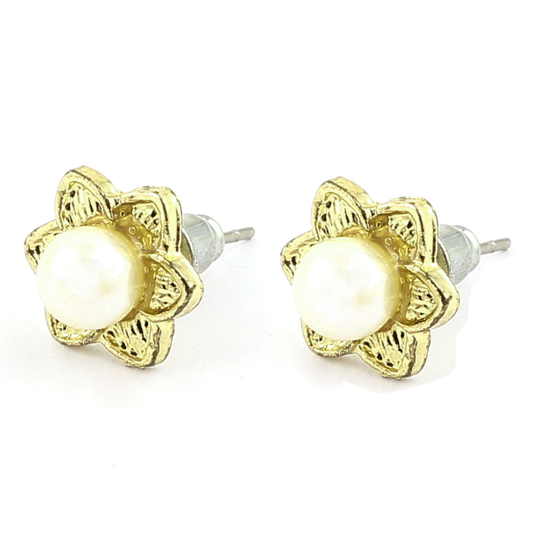 Pair Women Metal Plastic Artificial Plastic White Imitation Pearl Inlaid Flower Shape Pierced Stud Pin Ear Nail Earrings Earbobs Gold Tone 2cm Length