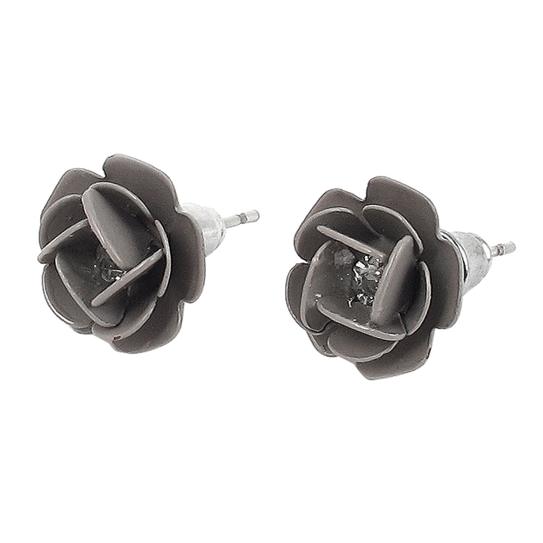 Women Metal Flower Shape Faux Crystal Inlaid Pierced Stud Pin Ear Nail Earrings Earbobs Silver Tone Gray 2cm Length Pair
