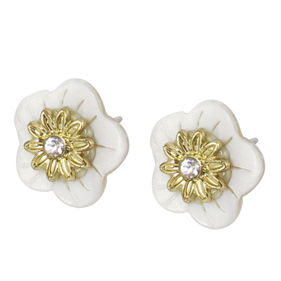 Women Metal Double Layers Flowers Shape Plastic Crystal Inlaid Pierced Stud Pin Ear Nail Earrings Earbobs Gold Tone White 1.7CM Pair