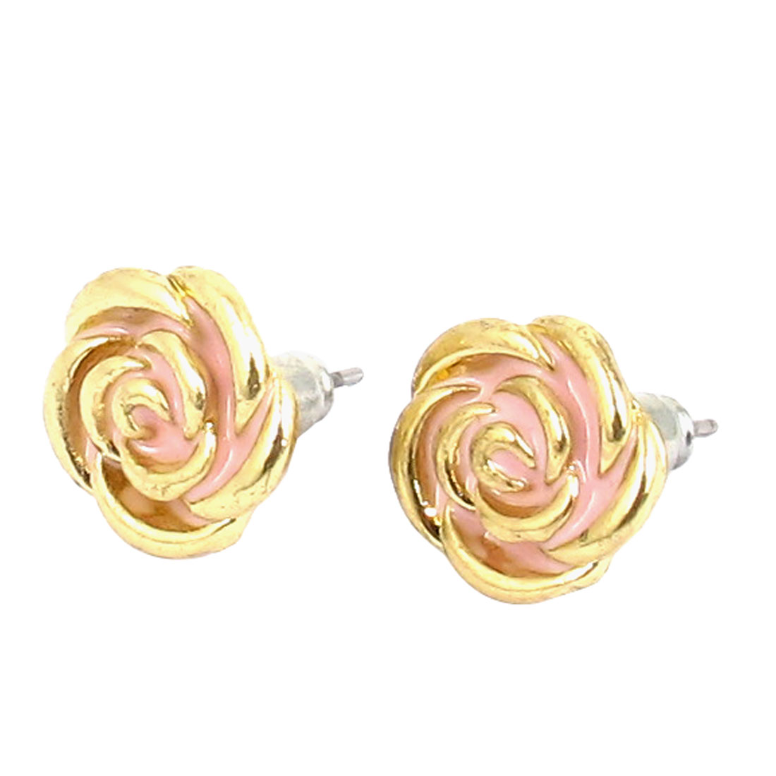 Women Metal Flower Shape Pierced Stud Pin Ear Nail Earrings Earbobs Gold Tone Pink 1.6CM Length Pair