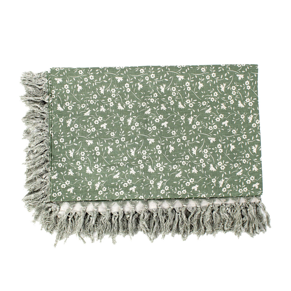 Green Rectangle Design Cotton Table Cover Tablecloth 190cm x 130cm