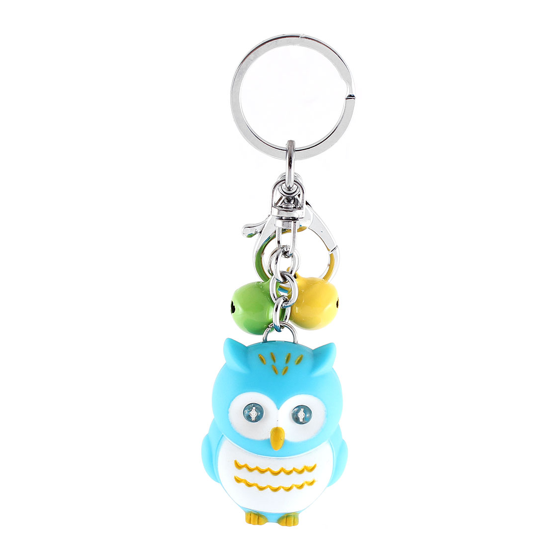 Christmas Gift Owl Shape Bells LED Flash Light Sound Torch Keychain Blue