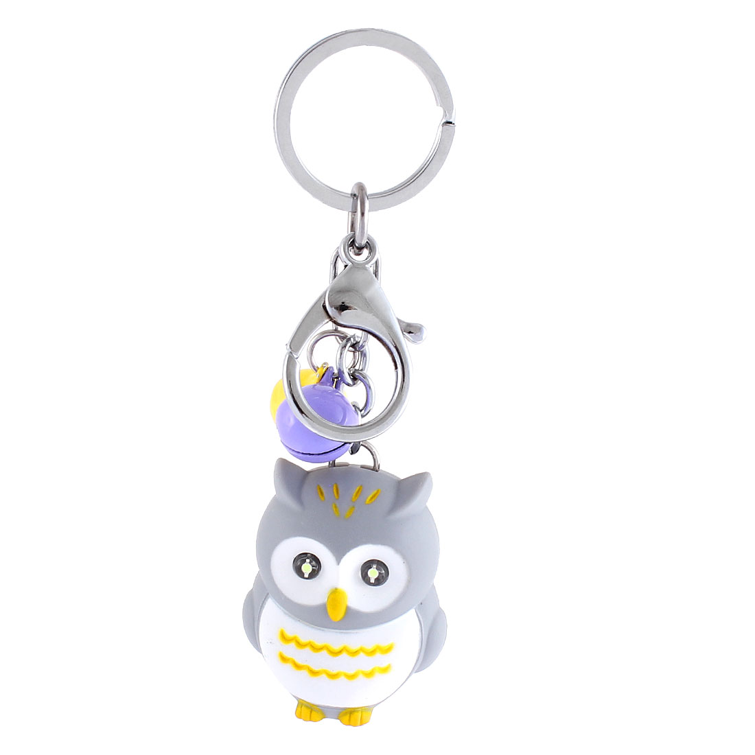 Christmas Gift Owl Shape Bells LED Flash Light Sound Torch Keychain Gray