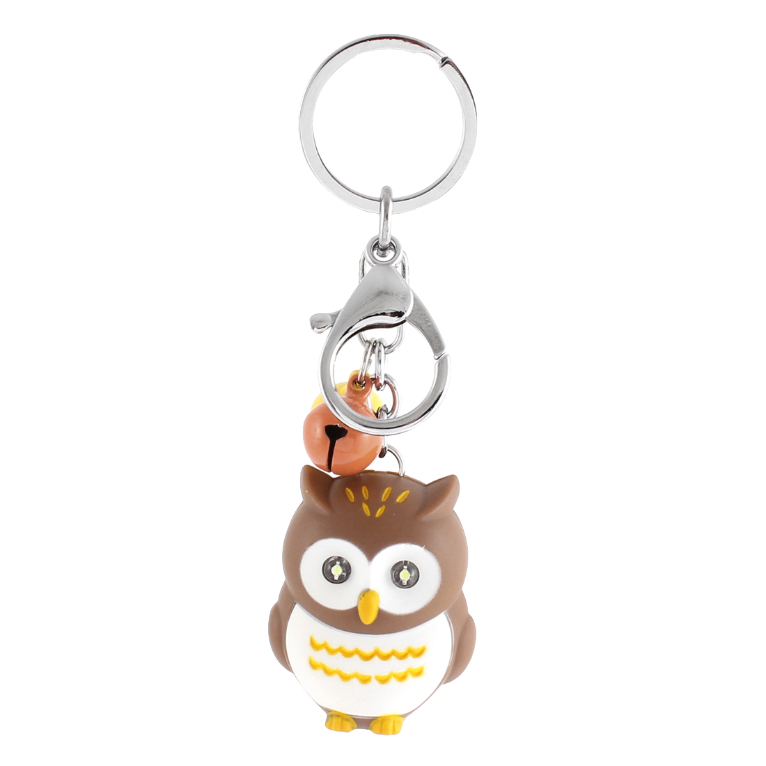 Christmas Gift Owl Shape Bells LED Flash Light Sound Torch Keychain Brown