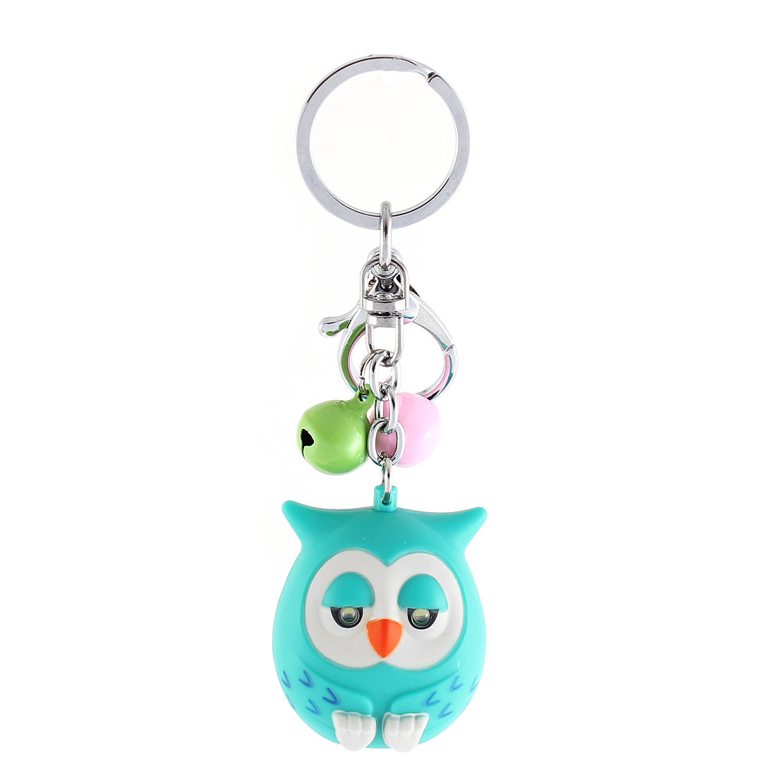 Christmas Gift Owl Shape Bells LED Flash Light Sound Torch Keychain Green