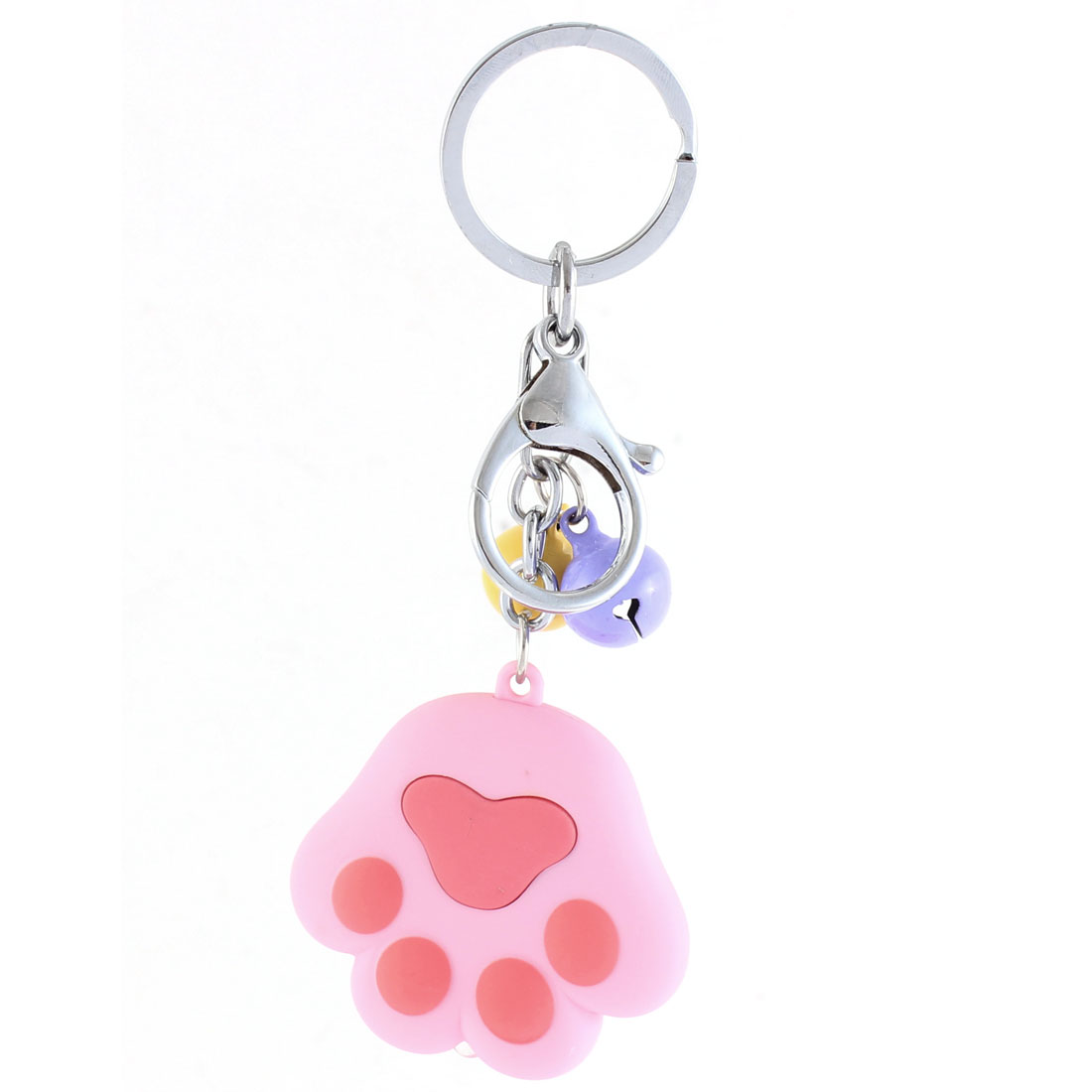 Christmas Gift Footprint Shape Bells LED Flash Light Sound Keychain Pink Red