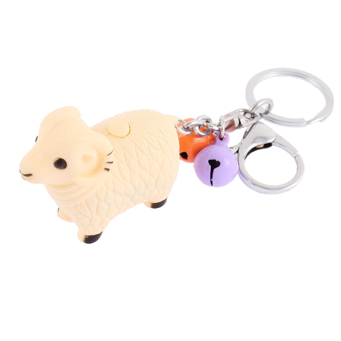 Kids Christmas Gift Bells Sheep Pendant LED Flash Light Sound Keychain Beige