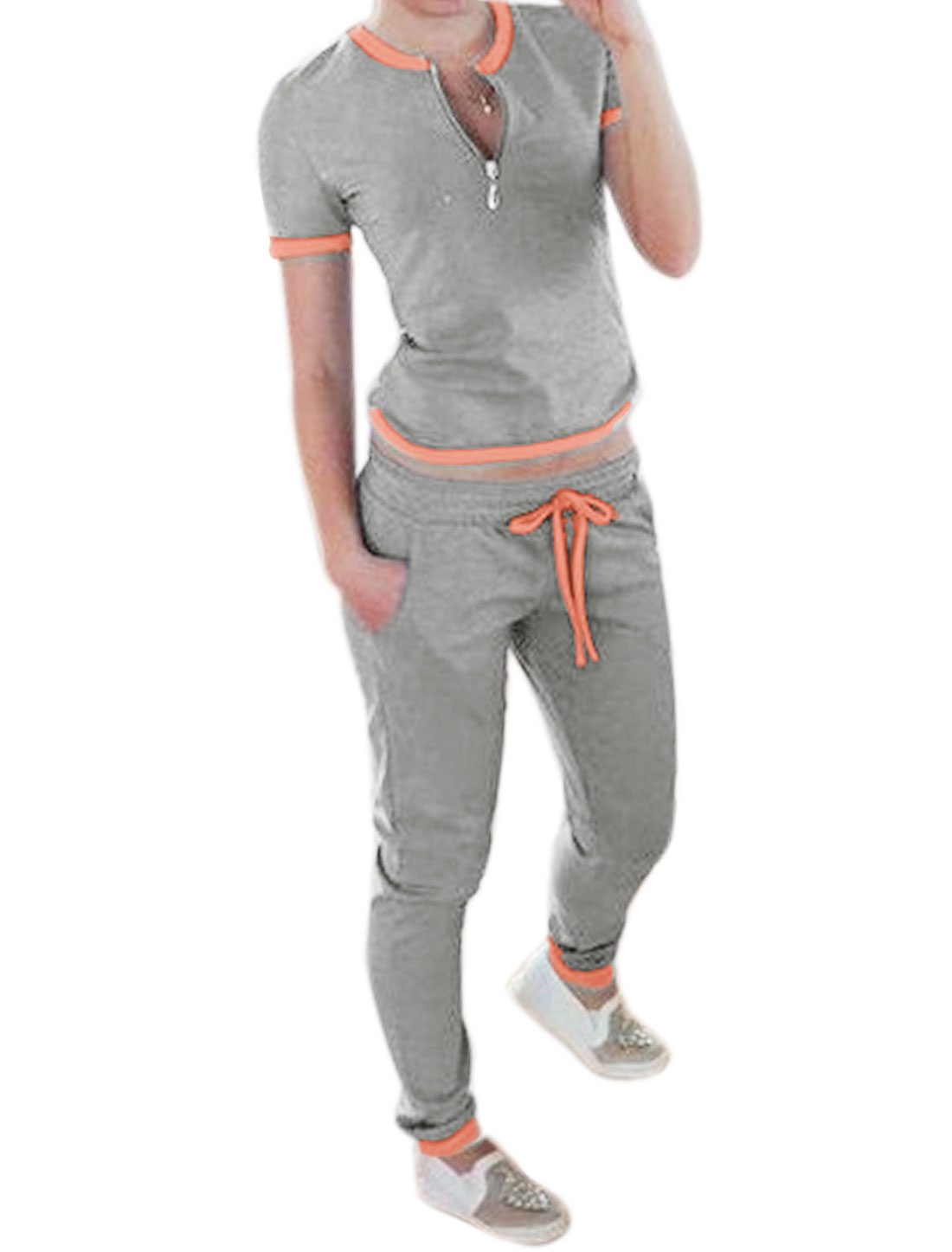 Women Crew Neck Top w Drawstring Waist Trousers Sets Orange Gray M