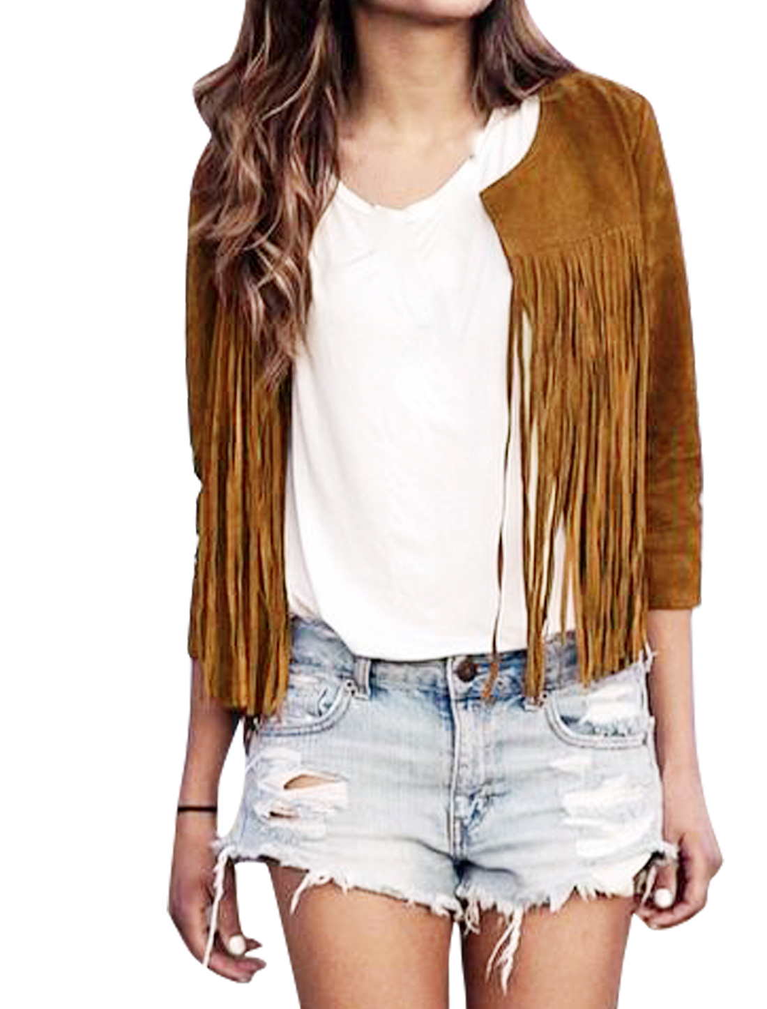 Women Round Neck Open Front Tassels Design Jacket Brown M