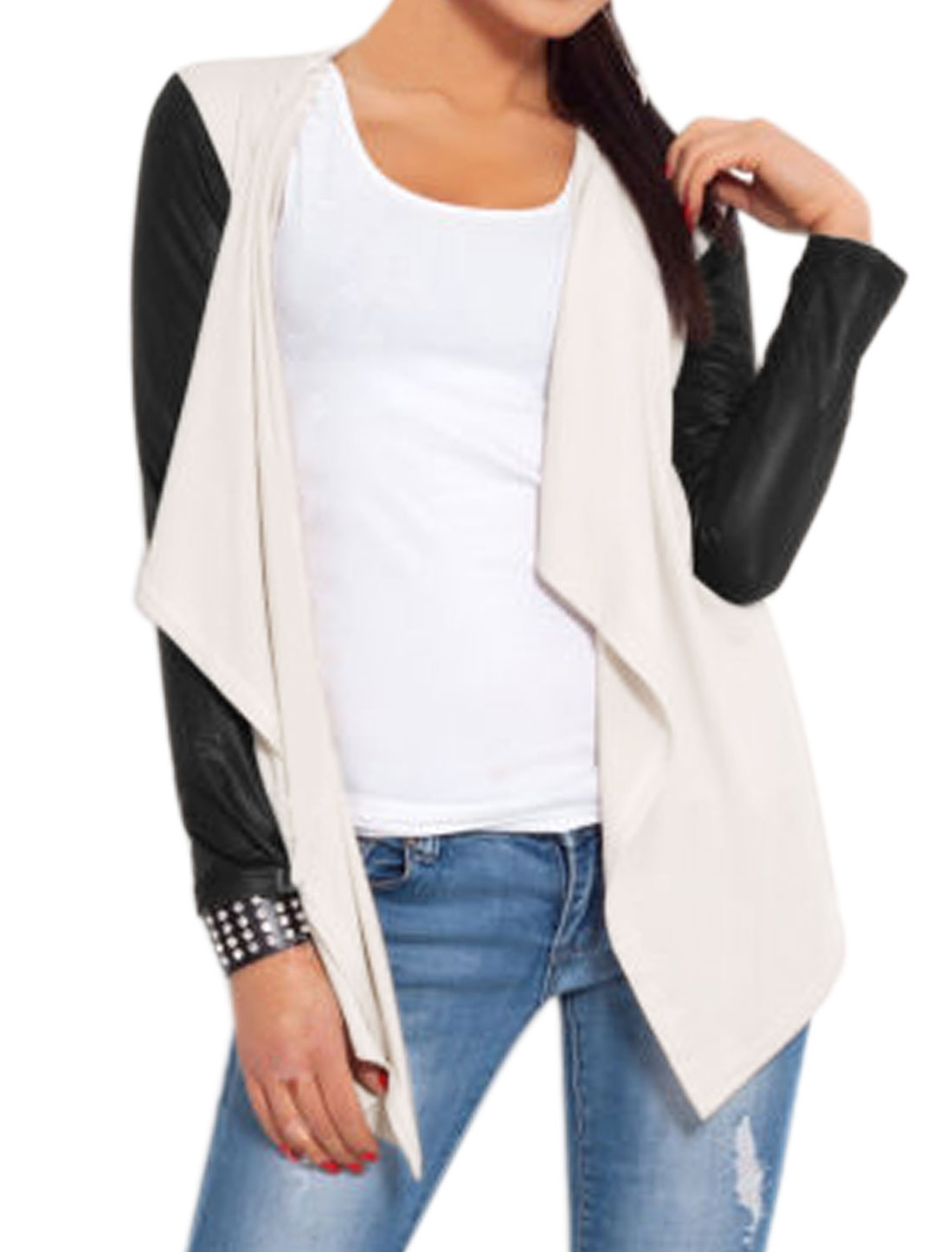 Women Long Sleeves Open Front PU Panel Draped Cardigan White M