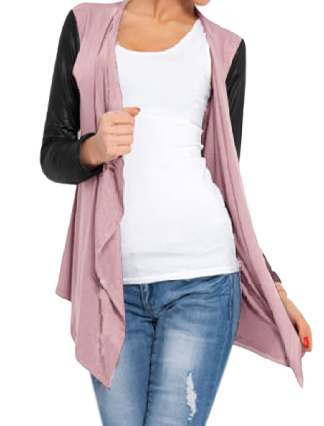 Lady Buttonless PU Panel Asymmetric Hem Casual Cardigan Purple M
