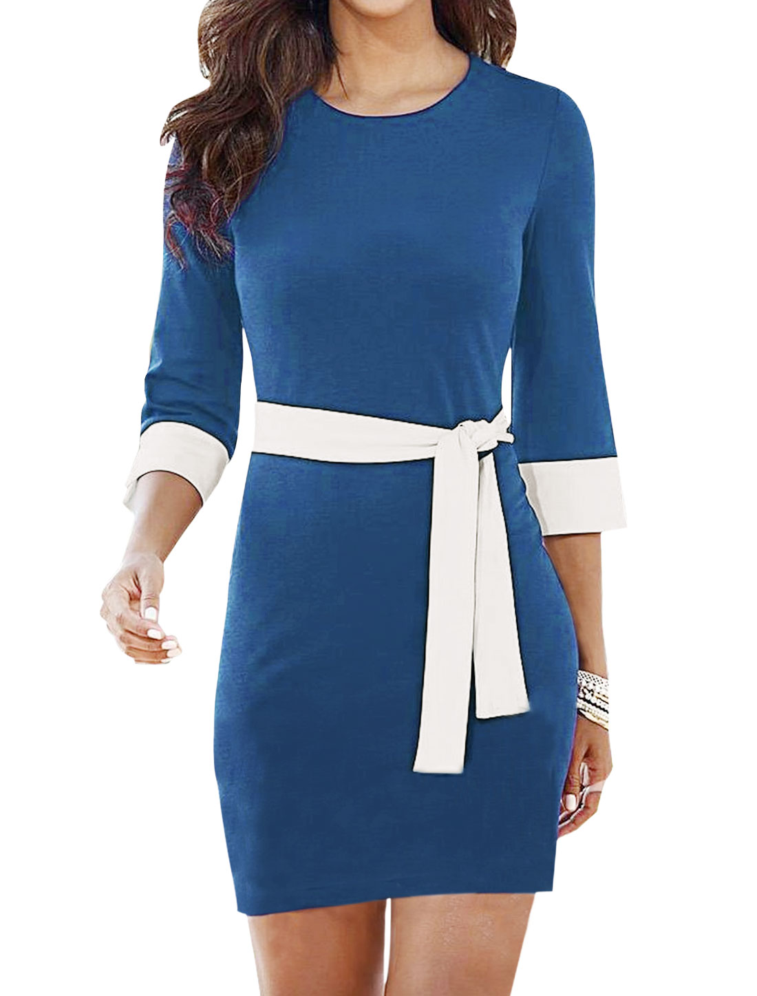 Women Round Neck 3/4 Sleeves Contrast Color Sheath Dress w Belt Blue M