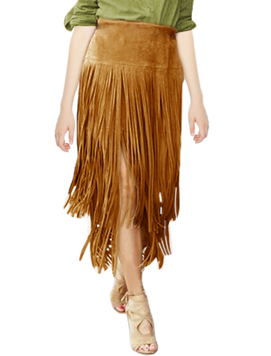 Women High Waist Tassels Design Unlined A Line Skirt Brown L