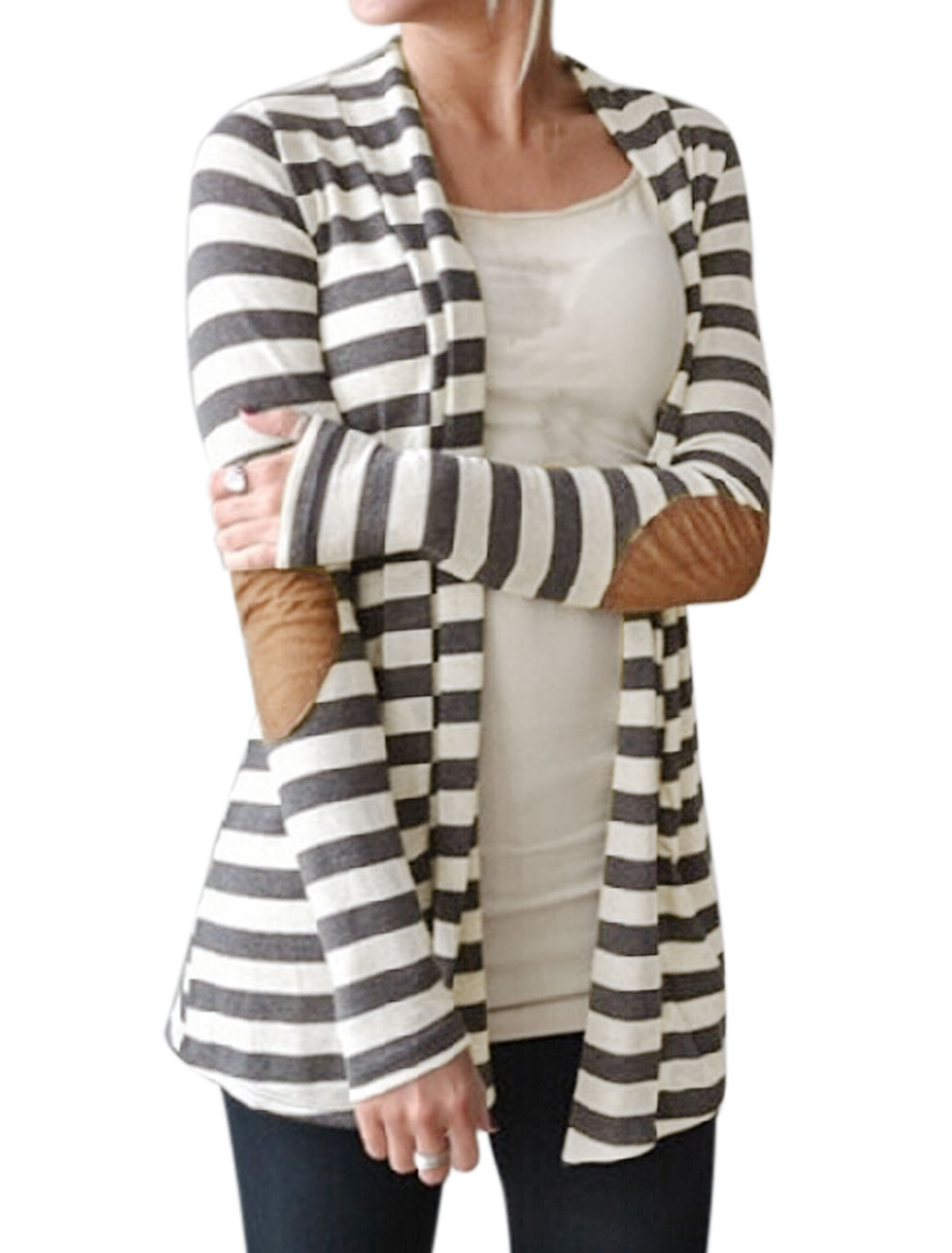 Women Shawl Collar Stripes Elbow Patch Tunic Cardigan Gray M