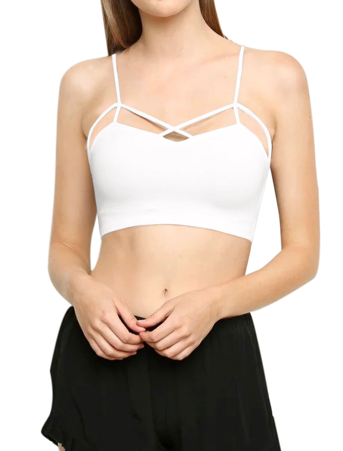 Women Spaghetti Strap Padded Bust Cropped Crossover Strappy Cami Top White S
