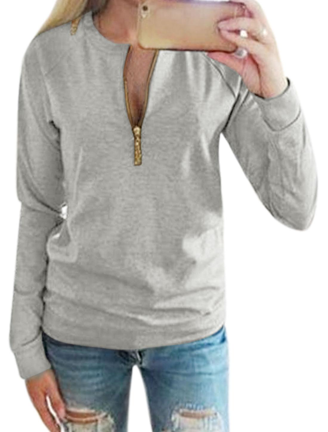 Women Crew Neck Long Sleeves Zipper Upper Chains Decor Top Gray M
