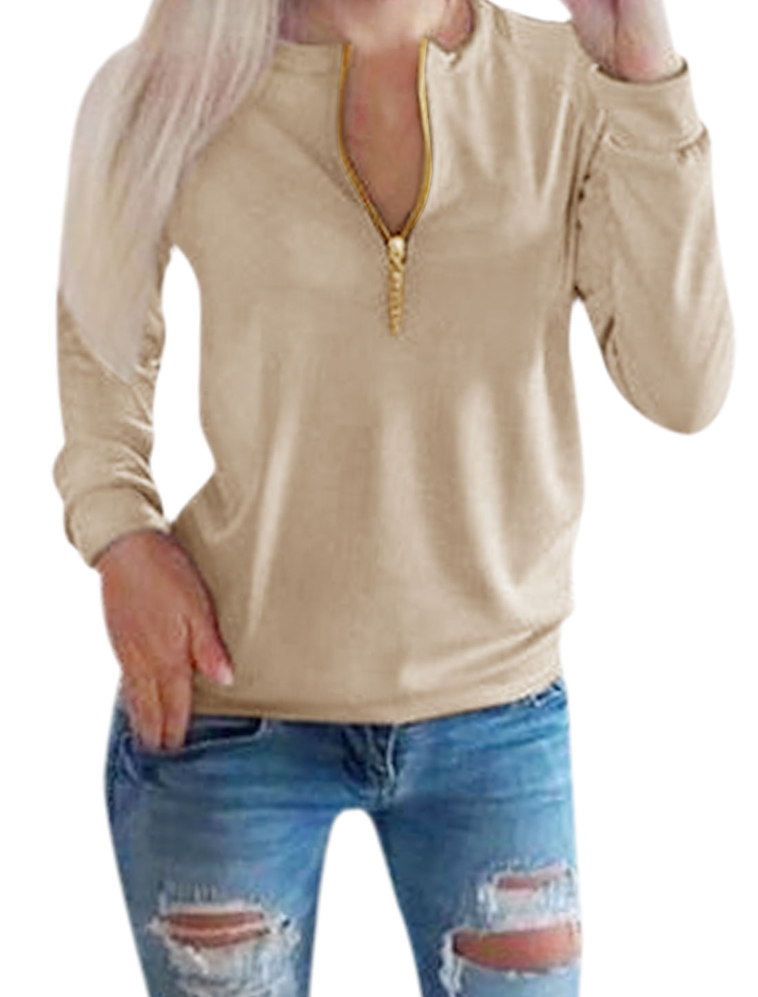 Lady Crew Neck Zip Closure Upper Chains Embellished Top Beige M
