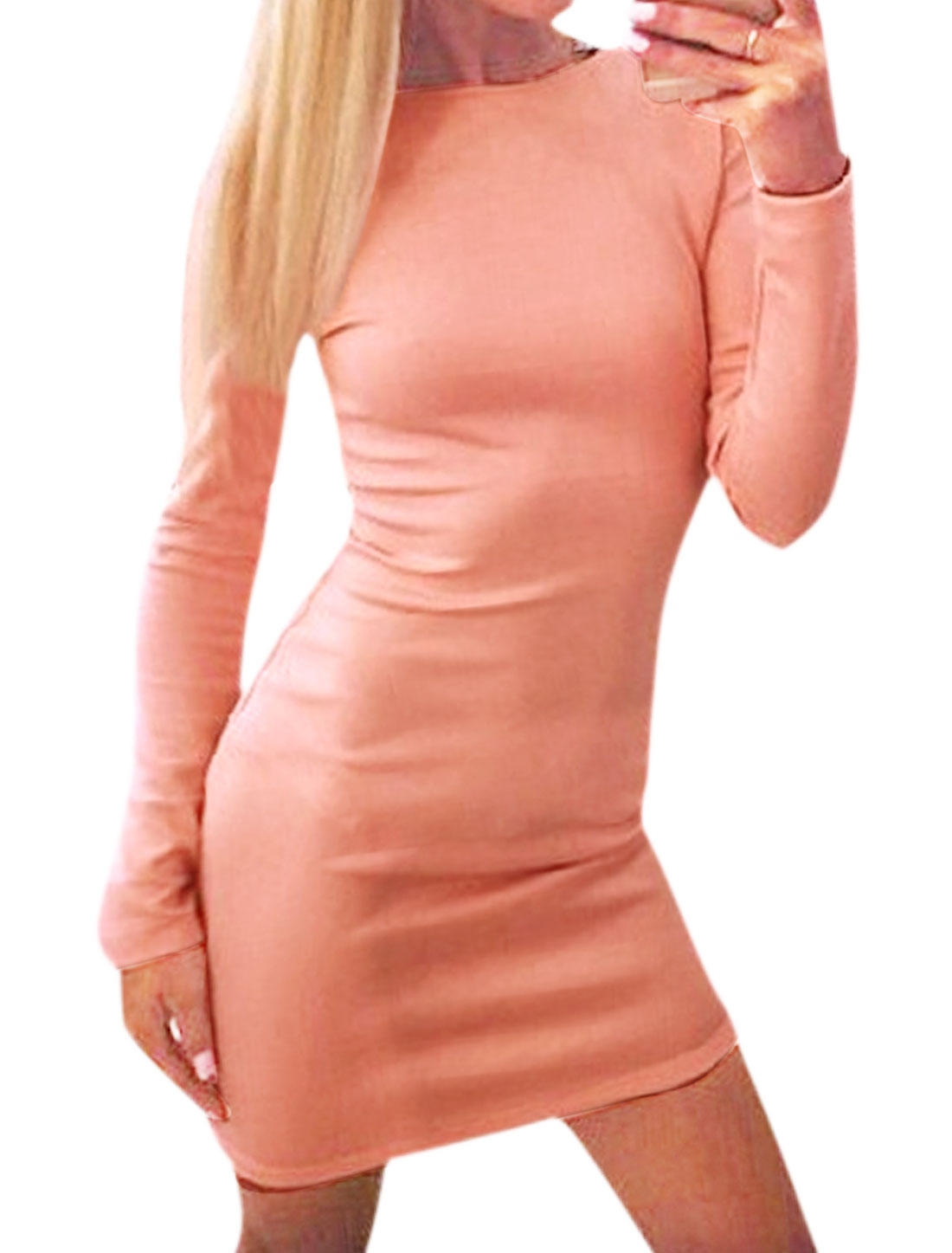 Women Crew Neck Exposed Zip Closed Back Skinny Dress Pink L