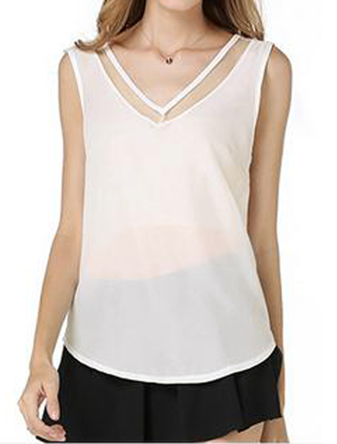 Women Deep V Neck Sleeveless Mesh Panel Casual Pullover Semi Sheer Top White S