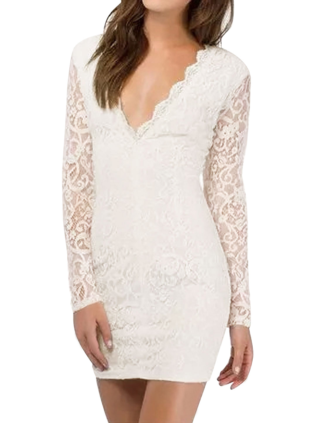 Women Scalloped V Neck Long Sleeves Slim Fit Lace Dress White M
