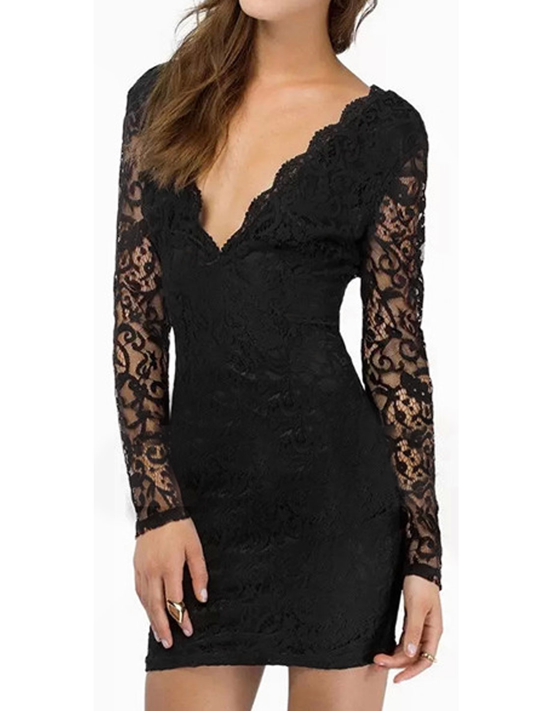 Women Scalloped V Back Long Sleeves Lace Skinny Dress Black M