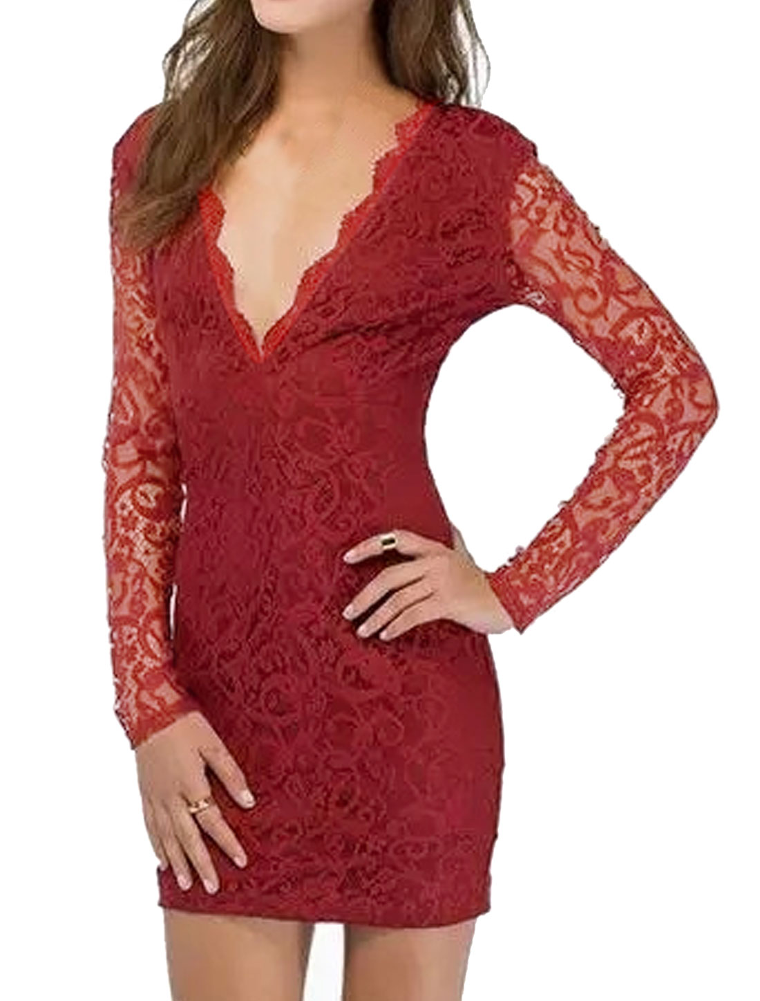 Lady Scalloped Neck V Neckline Long Sleeves Lace Bodycon Dress Red M