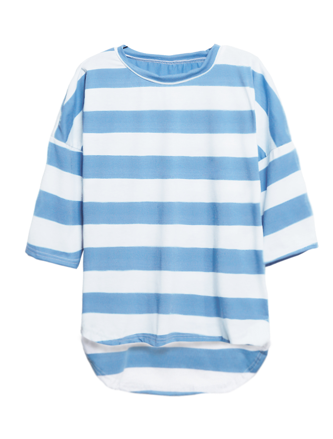 Women Crew Neck Stripes Low High Hem Loose Tunic T-Shirt Blue S