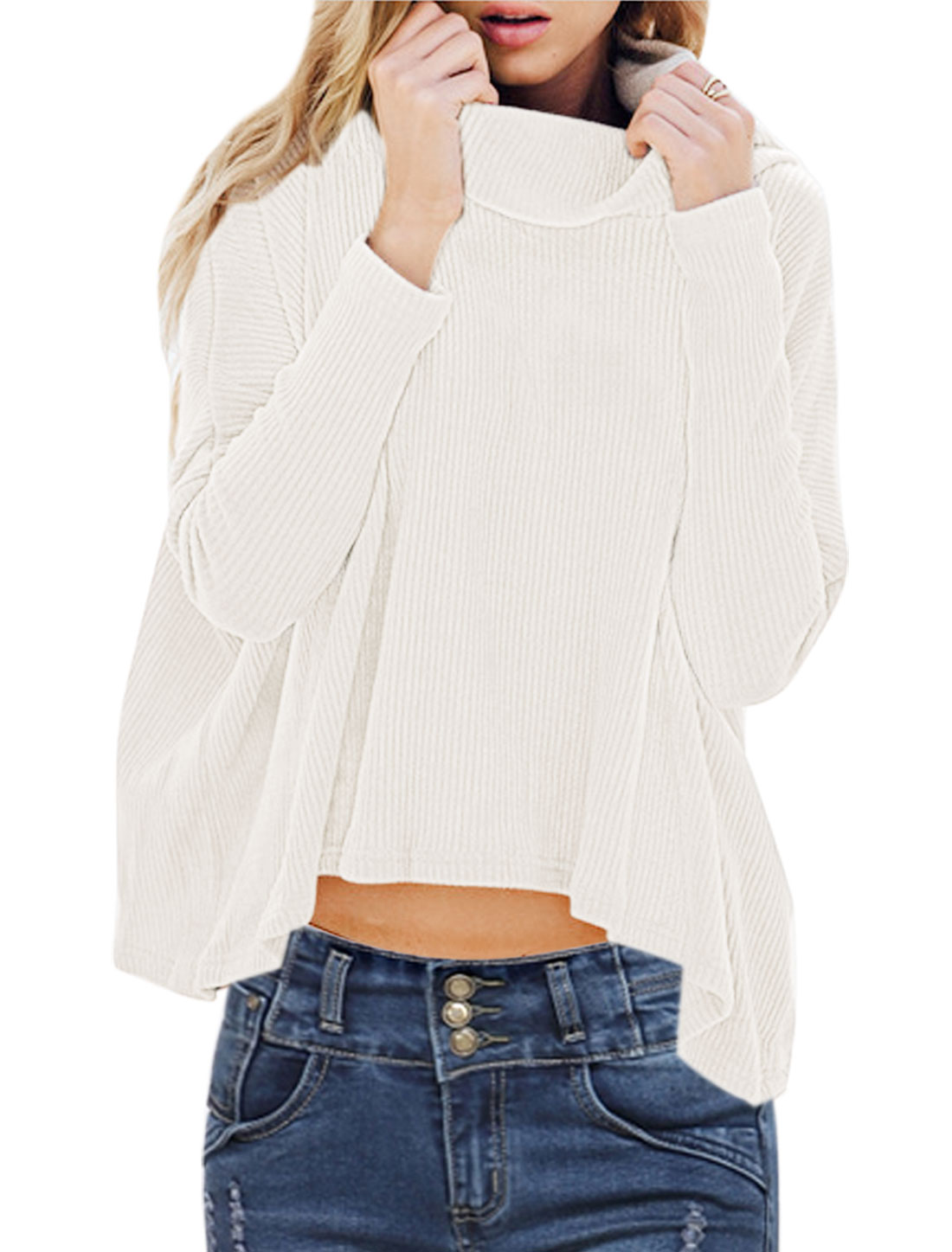 Ladies Cowl Neck Long Sleeves Ribbed High Low Hem Loose Knit Shirt White XS