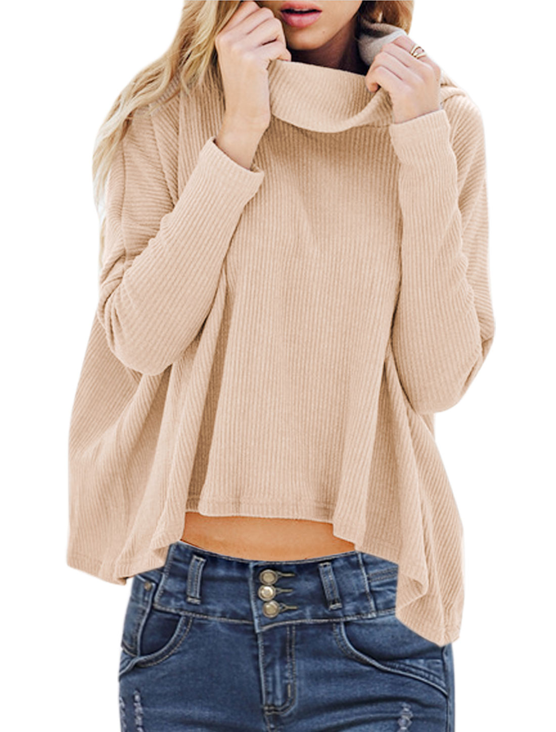 Women Cowl Neck Long Sleeves Casual High Low Hem Knitted Shirt Beige XS