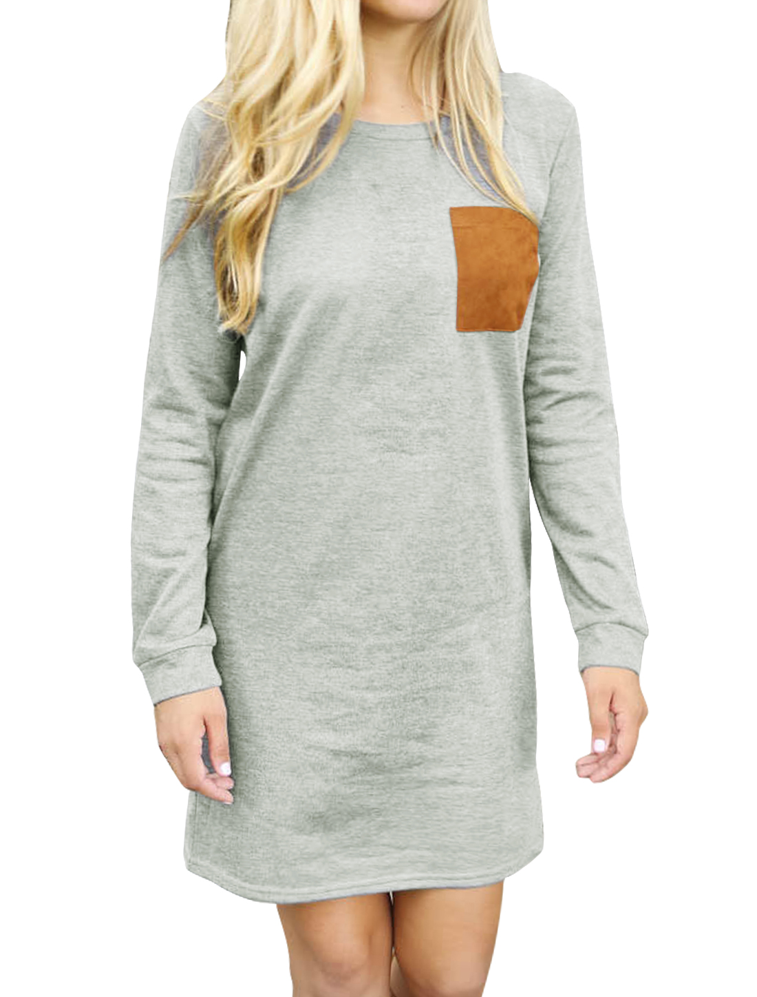 Women Crew Neck Long Sleeves Elbow Patch Paneled Tunic Dress Gray S