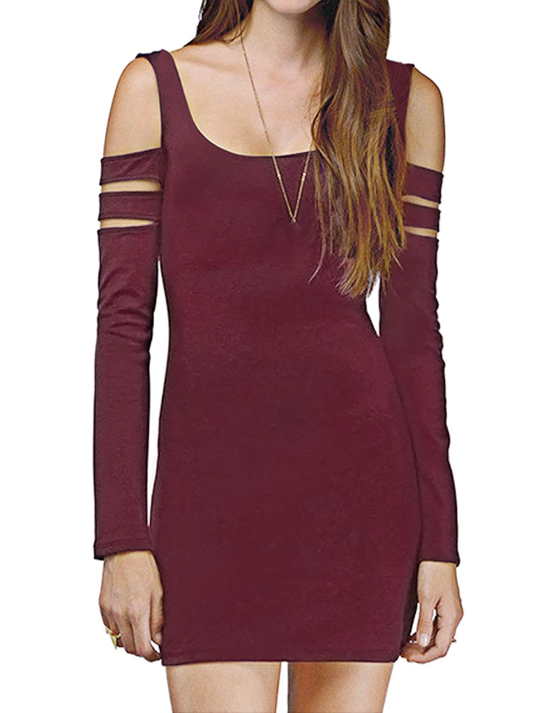 Ladies Scoop Neck Long-sleeved Cut Out Shoulder Short Dress Purple M