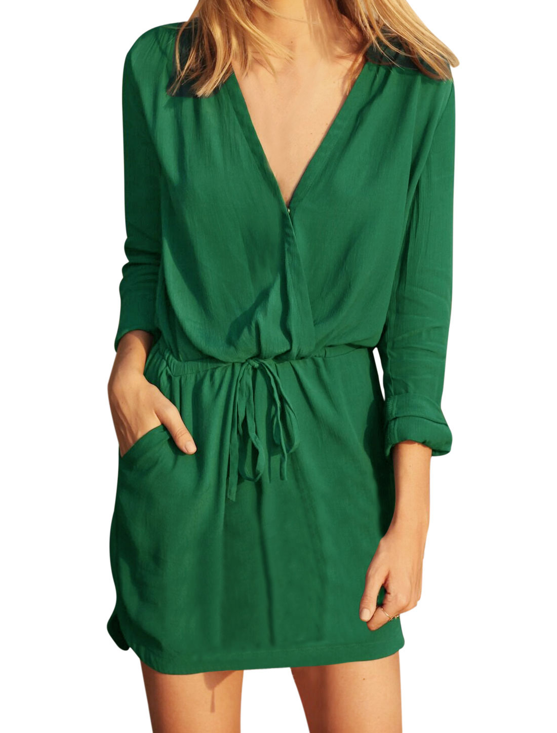 Ladies Crossover V Neck Drawstring Waist Tunic Dress Green S