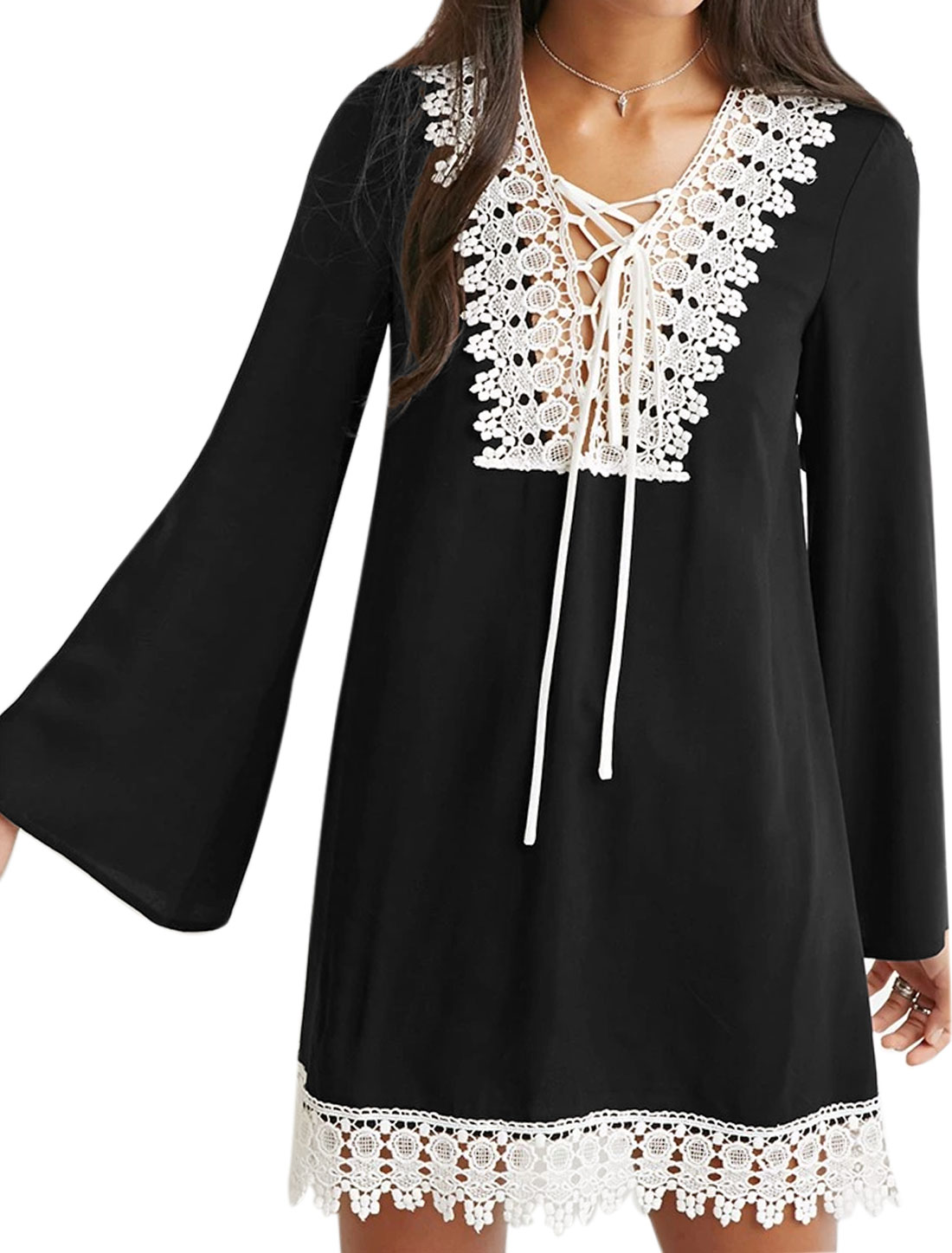 Lady Deep V Neck Bell Sleeves Lace Up Front Paneled Tunic Dress Black S