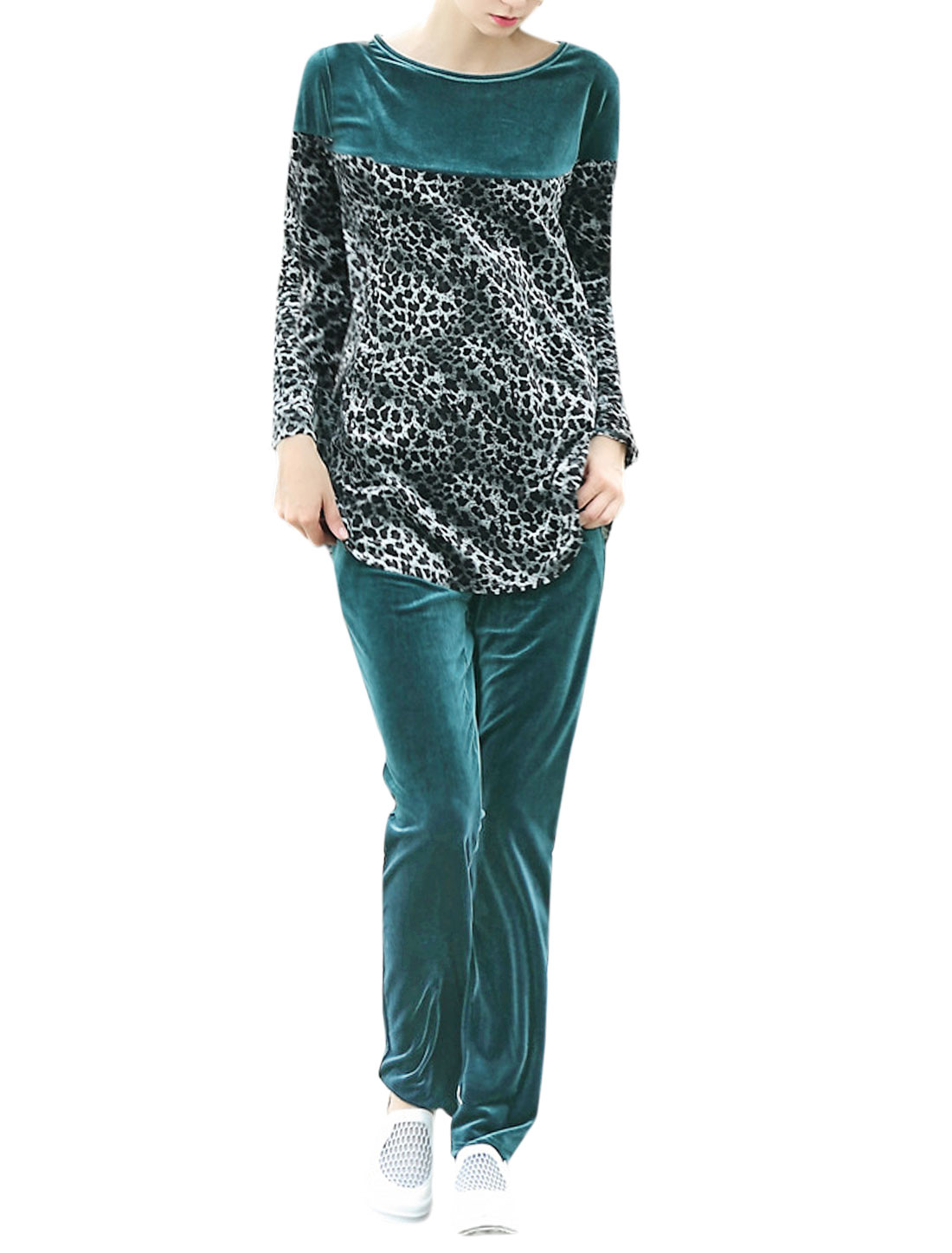 Women Long Sleeves Leopard Pattern Velvet Loose Tunic Top w Pants Sets Green M