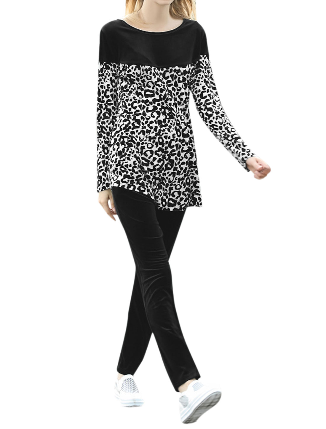 Women Round Neck Color Block Leopard Prints Tunic Top w Pants Sets Black XS