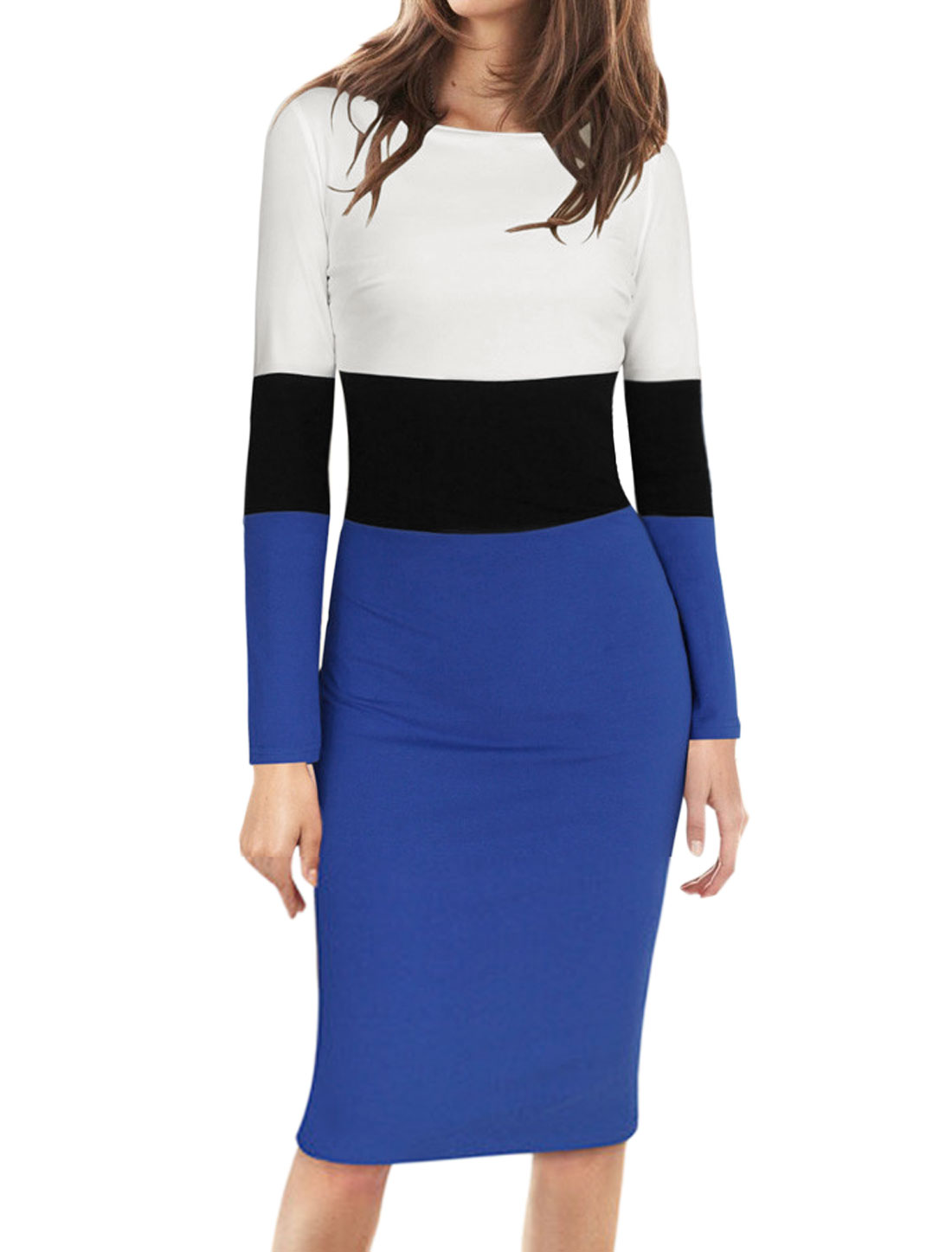 Women Boat Neck Long Sleeves Color Block Bodycon Pencil Dress Blue White L