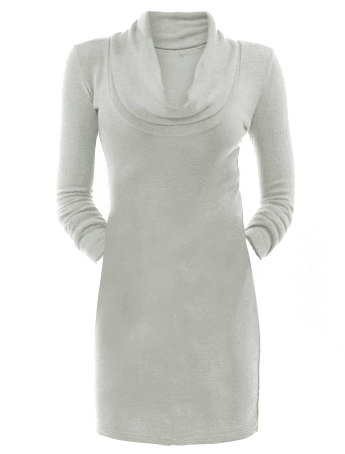 Ladies Cowl Neck Design Long Sleeves Wiggle Dress Gray XL