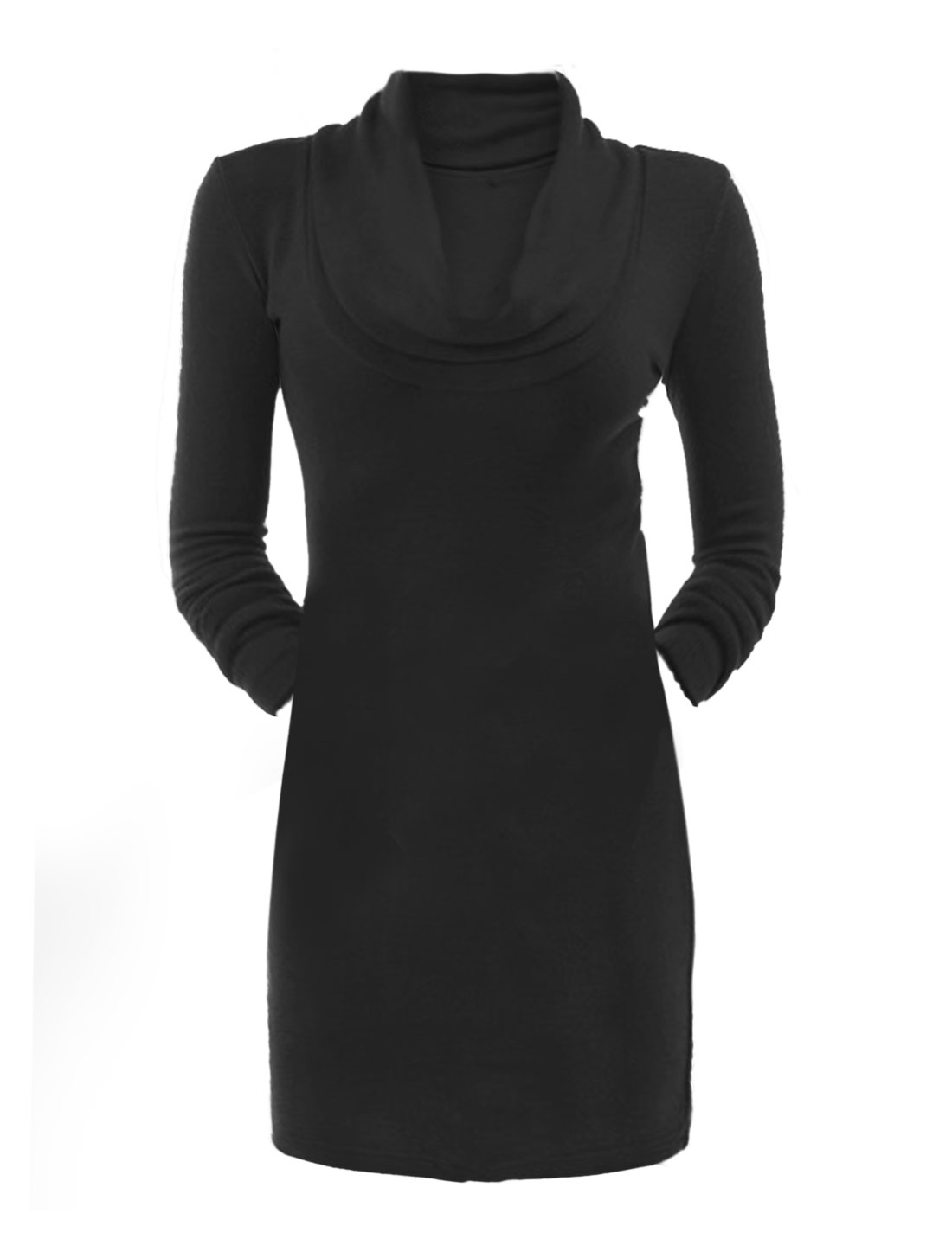 Women Cowl Neck Long Sleeves Slim Fit Sheath Dress Black XL