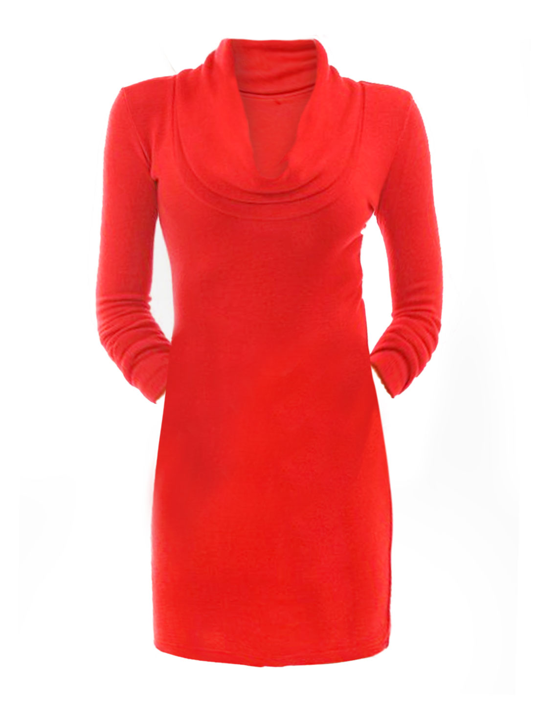 Ladies Cowl Neck Long Sleeves Unlined Skinny Dress Red XL
